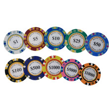 10pcs/lot Golden Clay Poker Chips Casino Coins 14gram Clay Coin Poker Chips Entertainment Monte Dollar Carlo Coins Dropshipping