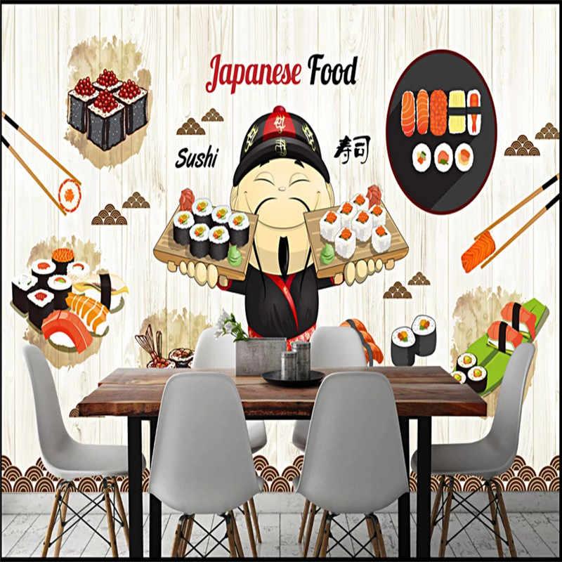 Cartoon Japanischen Lebensmittel Sushi Blass Gelb Holz Plank Strukturierte  Wandbild Tapete Küche Restaurant Industrielle Decor Wand Papier 3D