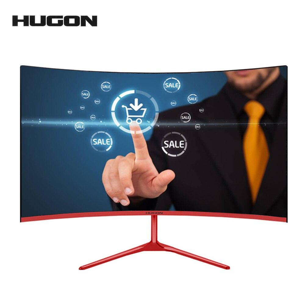HUGON-écran incurvé pour ordinateur 24 pouces 75Hz 1920x1080 px, MVA/SPVA, entrée Full Hd, 5ms, HDMI/VGA