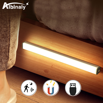 Rechargeable LED Under Cabinet light led Lamp Motion Sensor USB Port light kitchen Stairs Wardrobe Bed Side Light dvolador usb motion sensor led strip kit rechargeable activated bed light stick anywhere auto shut off timer for under cabinet