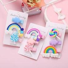 Modyle New Rainbow Lollipop Cute Children Hairpin Hair Clips Accessories For Girls Kids Hair Ornament Hair clip Headdress