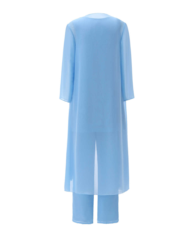 Traje de manga larga hasta el té chaqueta 3 piezas Madre de la novia traje pantalón trajes de gasa para mujer Simple azul sólido conjunto