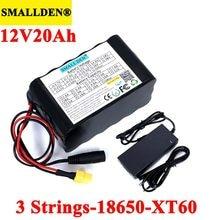 Batterie Rechargeable au lithium 12V 20ah 18650, 11.1V 20000mAh avec PCB pour lampe hernie, amplificateurs, surveillance + chargeur 12.6V 3a