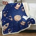 Постельные принадлежности Outlet ракета корабль кровать одеяло синий Шерпа флис пледы дети космоса плюшевые постельные принадлежности астро...