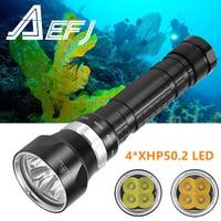 DX4 Plus-linterna de buceo 4 x XHP50 L2, luz LED subacuática superbrillante, resistente al agua, 100m, táctica, 26650