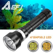 DX4 Plus Diving Flashlight 4*XHP50 L2 Underwater Super bright LED Waterproof dive 100m Tactics 26650 Torch Diver hunting light