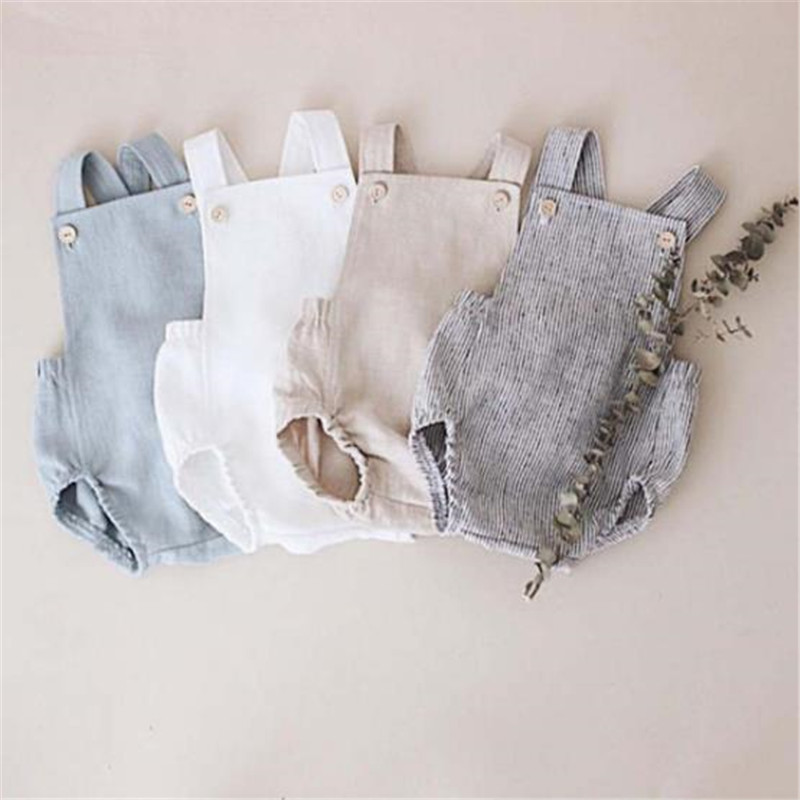 OMGST Lovely Baby Boys Summer Romper Infant Girl Solid Rompers New Baby Lovely One-pieces Kids Boy Suspender Romper