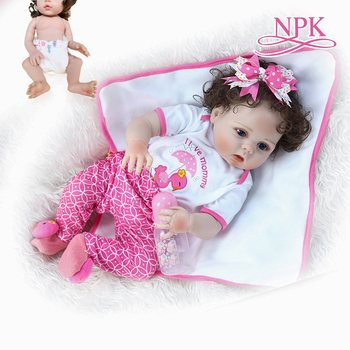56CM new full body slicone soft real touch reborn baby girl bebe doll reborn Bath toy  hand rooted curly fiber hair Anatomically