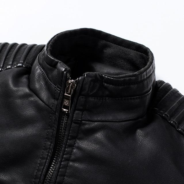Men Spring New Motorcycle Causal Vintage Leather Jacket Coat Men Autumn Outfit Fashion Biker Pocket Design PU Leather Jacket Men 4