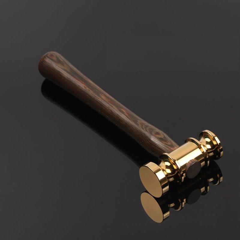 18K Gold Handmade Hammer Wooden Auction Hammer For Lawyer Judge Handcrafted Gavel Court