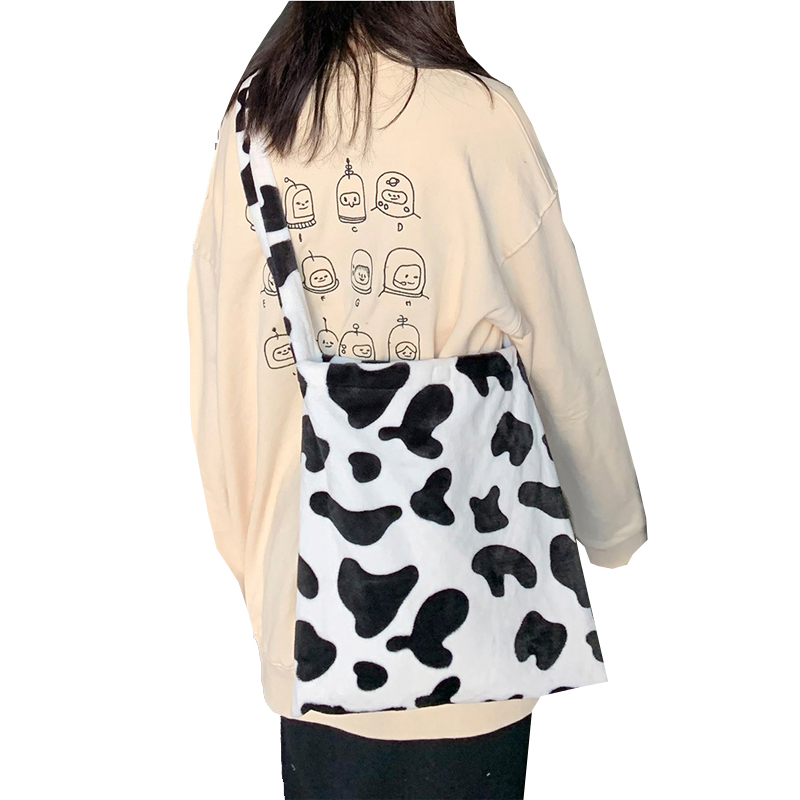 Soft Milk Cow Printed Shoulder Bags Womens Fashion Large Books Crossbody Bag New Girls Students Large Capacity Messenger Bags