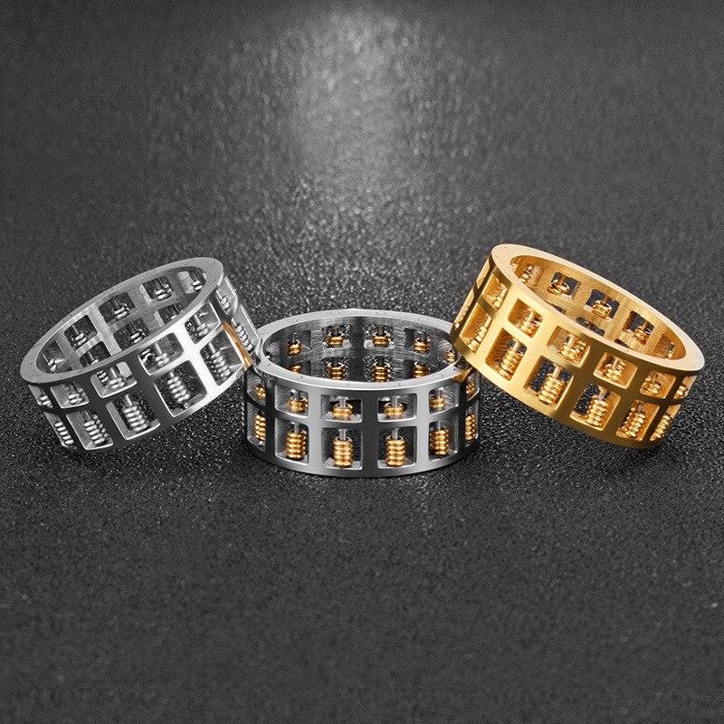 Anneau de boulier en acier inoxydable titane punk explosion de mode peut être fait à la main perlé délicat boulier anneau unisexe