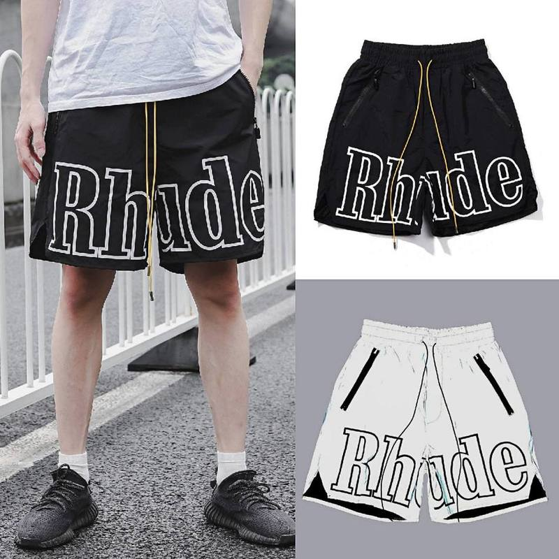 20SS RHUDE Shorts New York Restricted Monogram Drawstring 3m Reflective Beach 5s RHUDE Shorts Casual Loose Men/s RHUDE Shorts