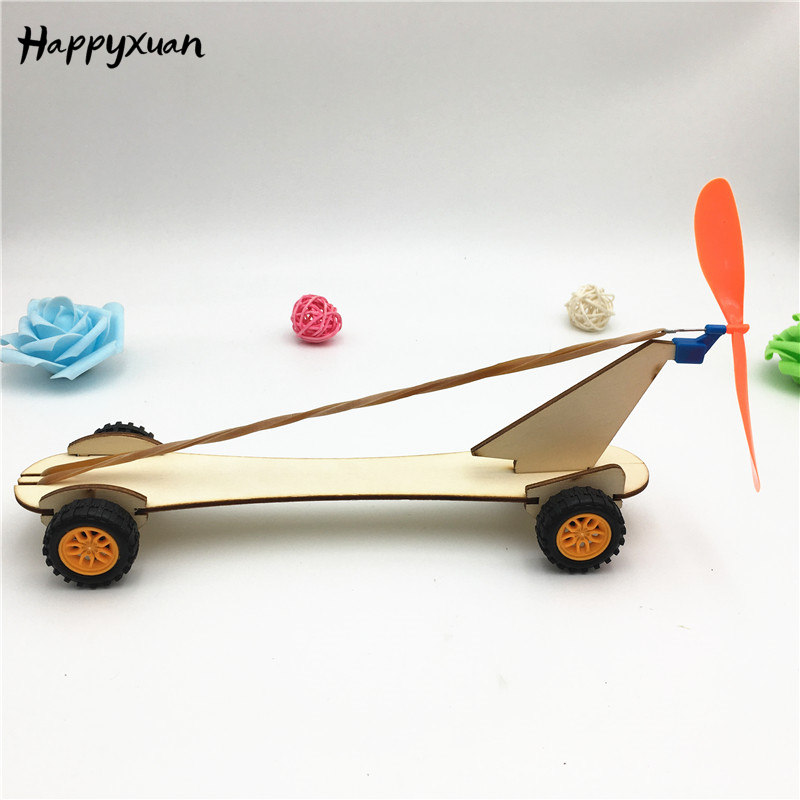 Happyxuan Rubber Band Power Car DIY Educational Science Kits Kids Experiment Fun Physics Toys STEM School Project Gift Wood