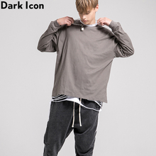 Dark Icon Solid Color Side Split High Street T-shirt Men Long Sleeve Round Neck Urban Fashion Mens Tshirts Basic Tee Shirts