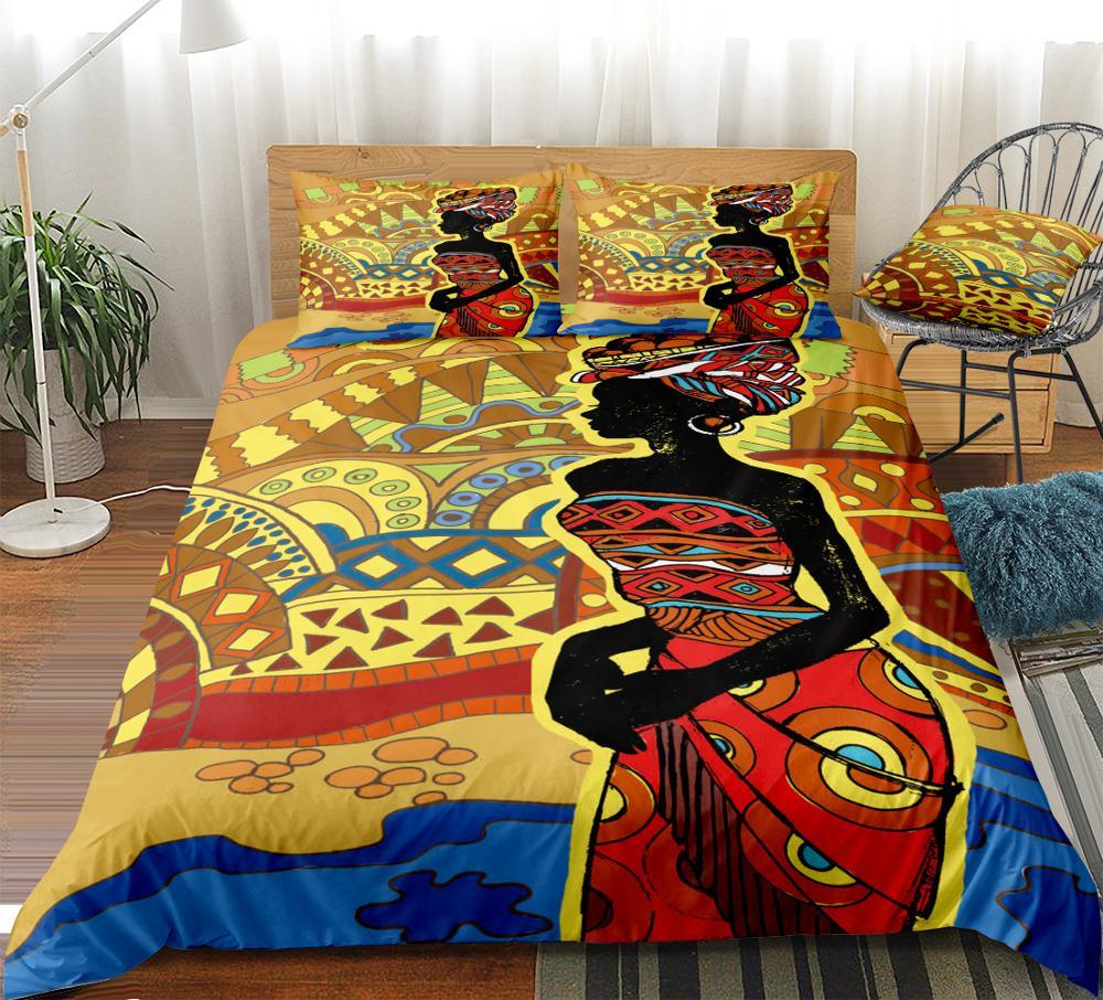 African Duvet Cover Set African Woman Bedding Set Desert Geometric Home Textiles Red Orange Sun Bedclothes Dropship 3-piece