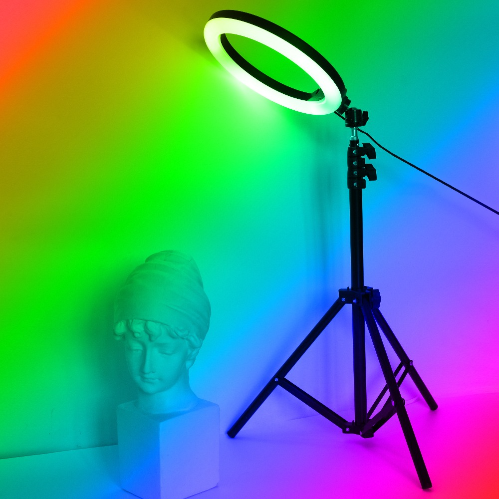 H3a736647bcbd4715a28d50f3518eeacaZ 26cm 33cm RGB Selfie Ring LED Light with Stand Tripod Photography Studio Ring Lamps for Phone TikTok Youtube Makeup Video Vlog