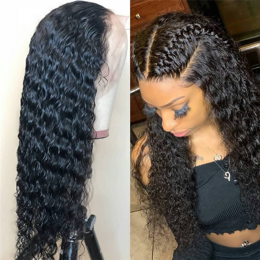 Deep Part Curly Human Hair Wigs 13*6 Wet And Wavy Lace Front Wigs Brazilian Lace Frontal Wig Remy Hair Pre Plucked Bleached Knot