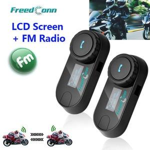 Image 1 - Nova versão atualizada! Freedconn T COMSC bluetooth capacete da motocicleta interfone fone de ouvido tela lcd + rádio fm