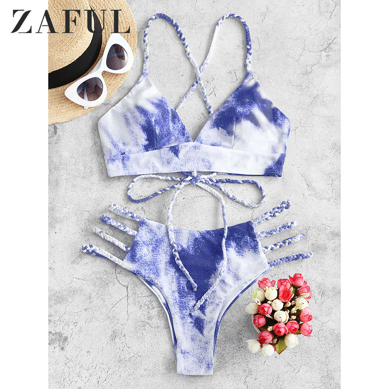 ZAFUL Tie Dye Bikini 2020 Women Swimwear Push Up Swimsuit Dinosaur Print Swimming Suit Bandage Sexy Summer Bathing Suit Female