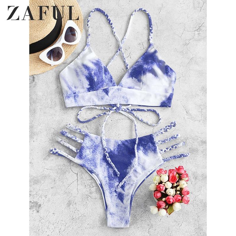 ZAFUL Tie Dye Bikini 2020 Women Swimwear Push Up Swimsuit Dinosaur Print Swimming Suit Bandage Sexy Summer Bathing Suit Female