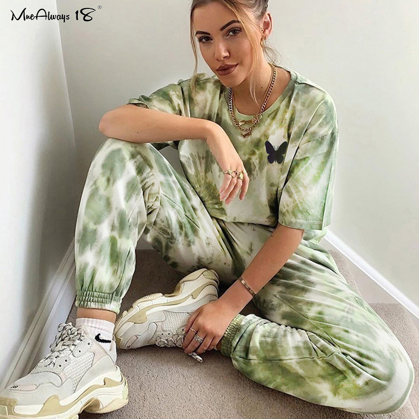 Mnealways18 Fashion Tie Dye Casual Suits Women'S Tracksuit Summer T-Shirt And Pants Female Loose Two Piece Set Sports Suit 2020