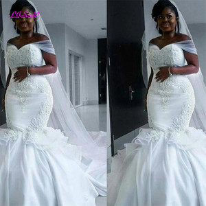 Image 3 - African Mermaid Embroidery Long Wedding Dresses Off Shoulder Satin Bridal Gowns Indian vestido noiva Plus Size Wedding Dresss