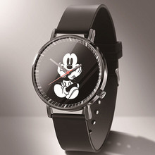 relogio New Luxury Brand DQG Cartoon Mickey Watch Women Reloj Fashion Black Leather Quartz Kids Watch Cartoon Hello Kitty Часы