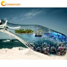 CHENISTORY 60x75cm Painting By Numbers Bottle Ocean Landscape DIY Oil Paints Kits Drawing Canvas Handpainted Home Room Decor