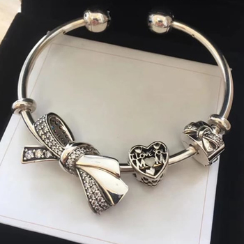 NEW 100% 925 Sterling Silver Bow Charm Heart Bow Clip 3 Charm Bead Bracelet Set Planet of Charm Astronaut Bangle Love Charm фото
