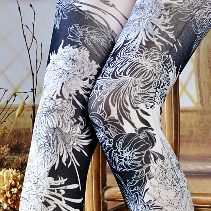 Chrysanthemum Print Women Pantyhose Dropship And Bulk