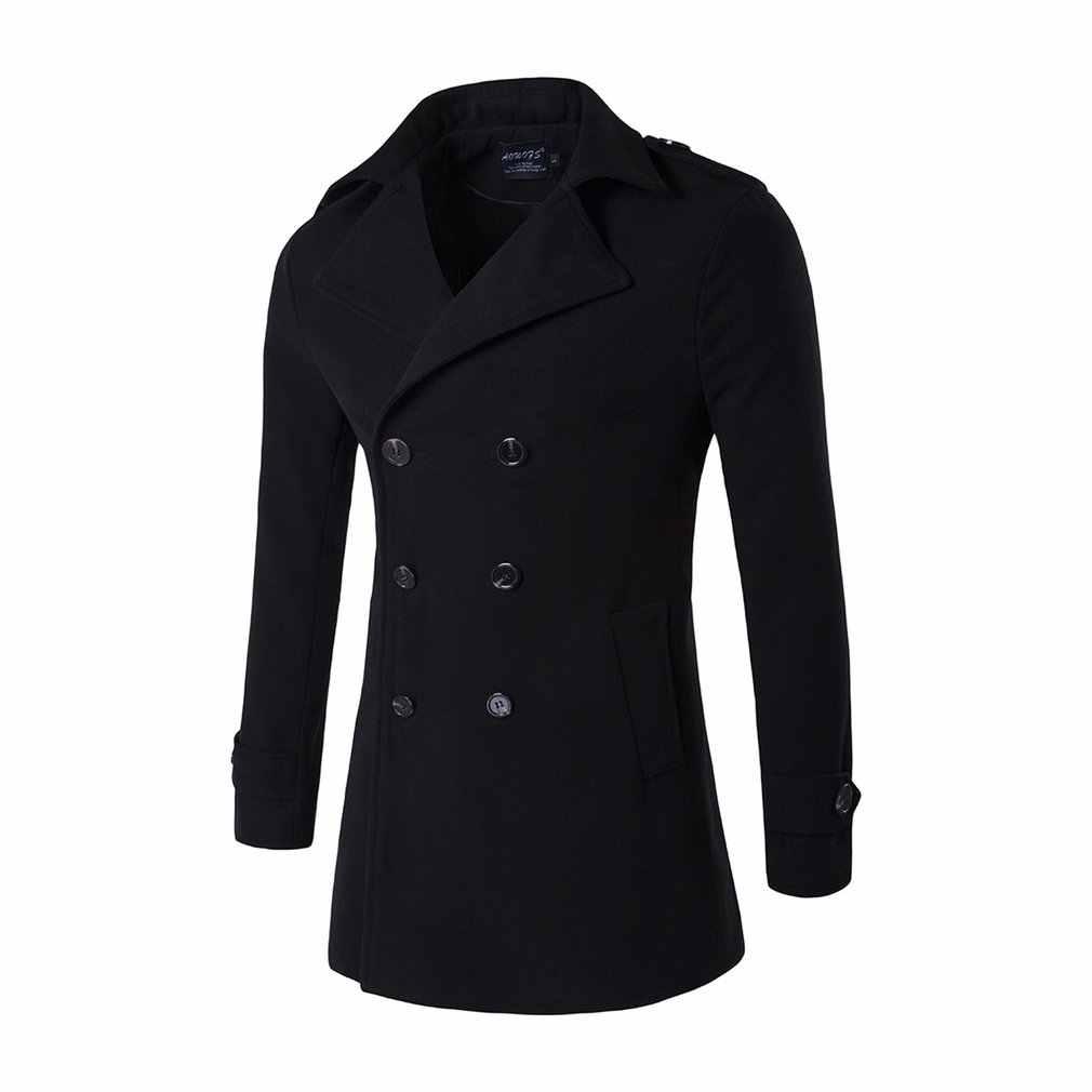Sonbahar kış slim fit uzun kollu erkek gömlek erkek turn-aşağı yaka yün ceket kruvaze düğme sıcaklık ordu yeşil yün bez erkek rüzgarlık