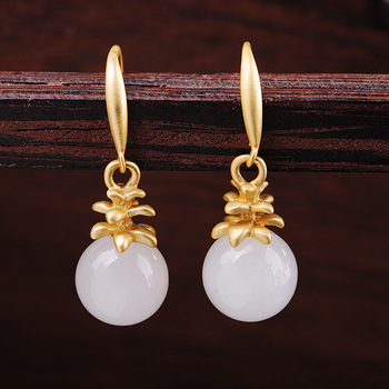 silver product manufacturer direct selling joker earrings S925 pure silver jewelry fashion women's hetian jade pendant