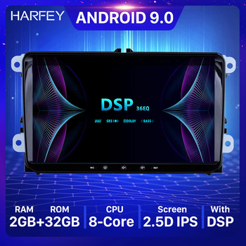 Harfey Universal Car Android 9.0 HD GPS Auto Radio For Skoda/Seat/Volkswagen/VW/Passat b7/POLO/GOLF 5 6 Multimedia Player 2+32GB image