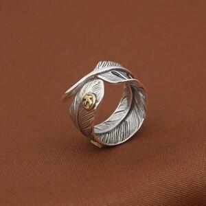 Мужское и женское кольцо Takahashi Goros, кольцо из 100% чистого серебра с перьями, открытые кольца для мужчин и женщин, подарок на день рождения