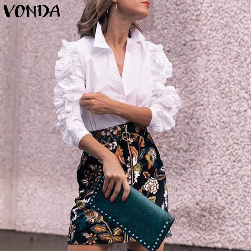 VONDA Women Blouses And Top Casual Turn-down Collar Ruffle Long Sleeve Shirts 2020 Spring Summer Ladies Office Blusas Plus Size