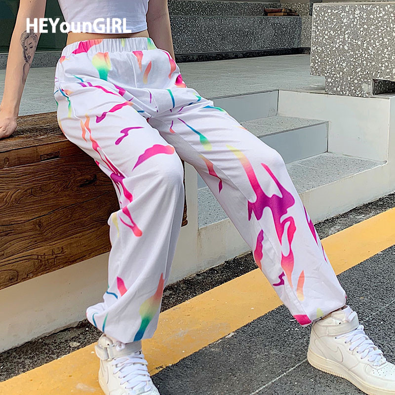 HEYounGIRL Colorful Printed White Casual Joggers Women Elastic High Waist Long Trousers Ladies Loose Pockets Pants Capris Summer