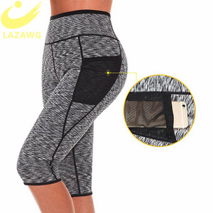 Image 4 - LAZAWG Womens Slimming Pants Hot Neoprene for Weight Loss Fat Burning Sweat Sauna Capris Leggings Shapers Hot Sweat Pants Waist