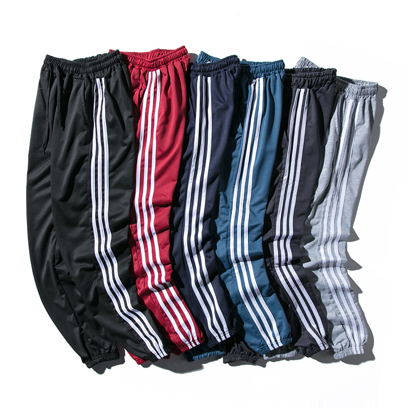 Men's Three Stripes Beam Leg Casual Pants Large Size Men's Sports Harem Pants Students Teenager Closing Foot Slim Fit
