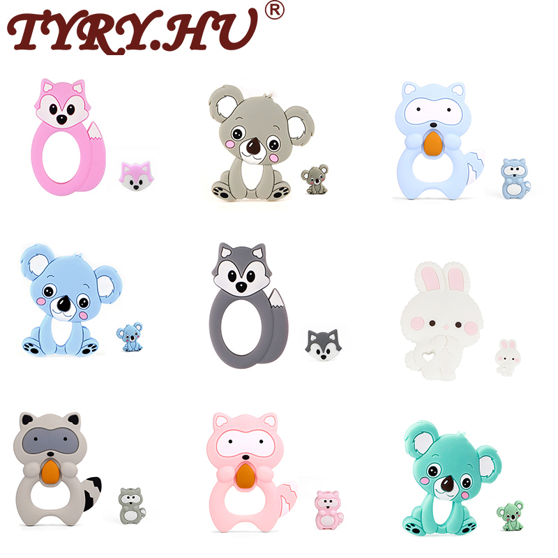 TYRY.HU 2 Pcs/set Baby Silicone Teether DIY Pacifer Chain Making Food Grade Teether Silicone Beads DIY Chain Teething Beads