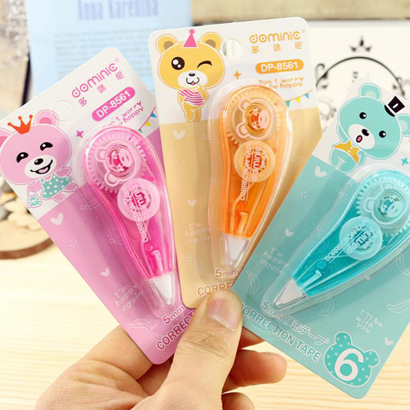 1 Pcs Kawaii Candy Color Rabbit Bear Correction Tapes Mini Double-sided Roller Tape Glue Dot Liner Disposable 5mm*6m Stationery