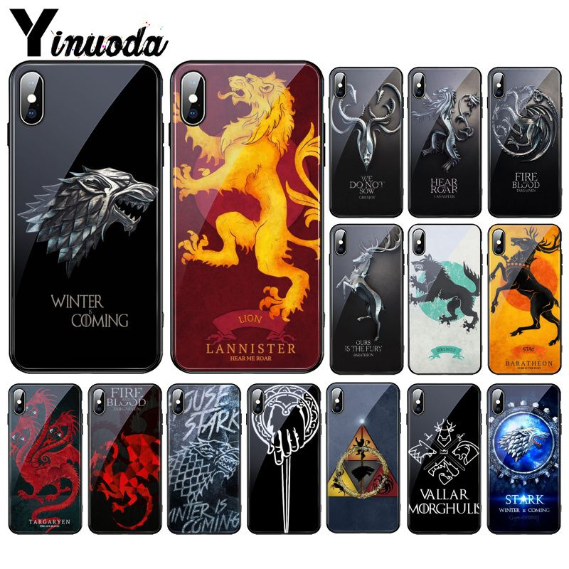 Yinuoda Valar Morghulis logo Game Thrones Tempered Glass Phone Case For iPhone 11 Pro XR XS MAX 8 X 7 6S 6 Plus image