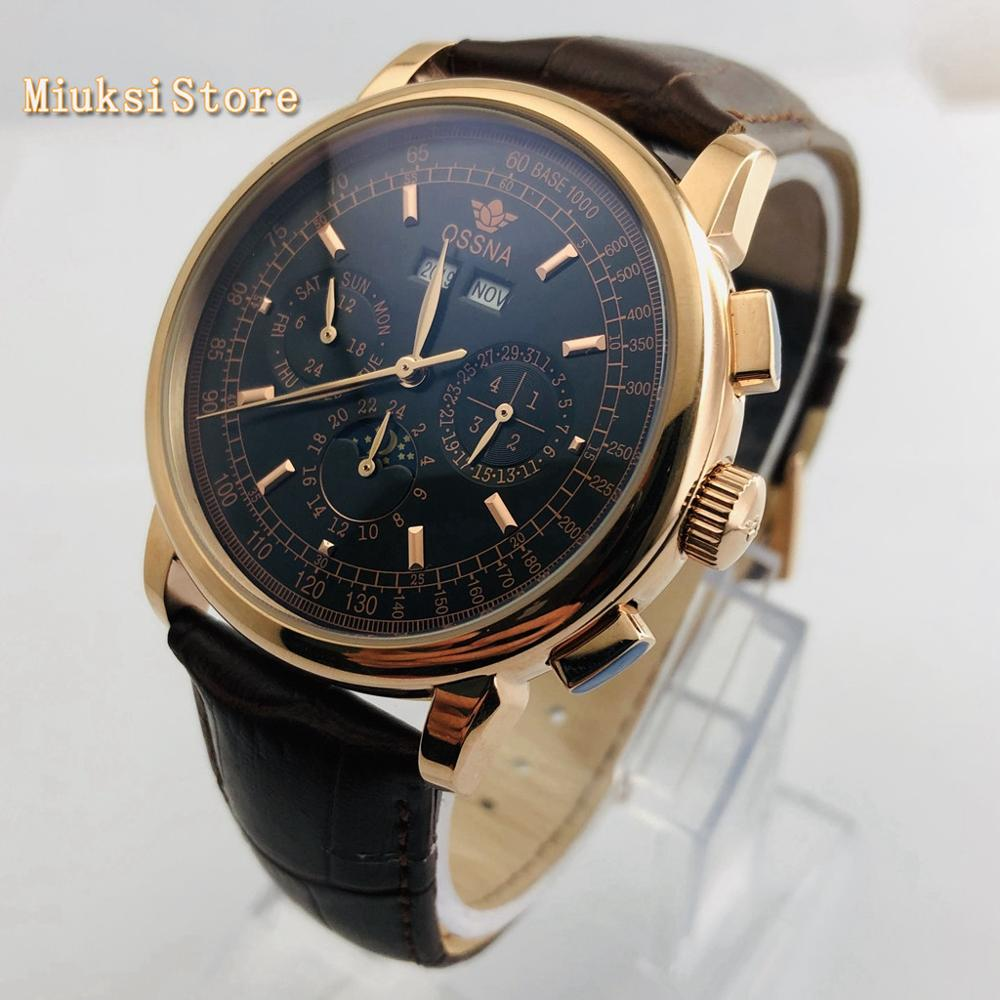 Ossna 42mm caixa de ouro preto dial data fase da lua multifunções pulseira couro automático dos homens topo relógio luxo presente