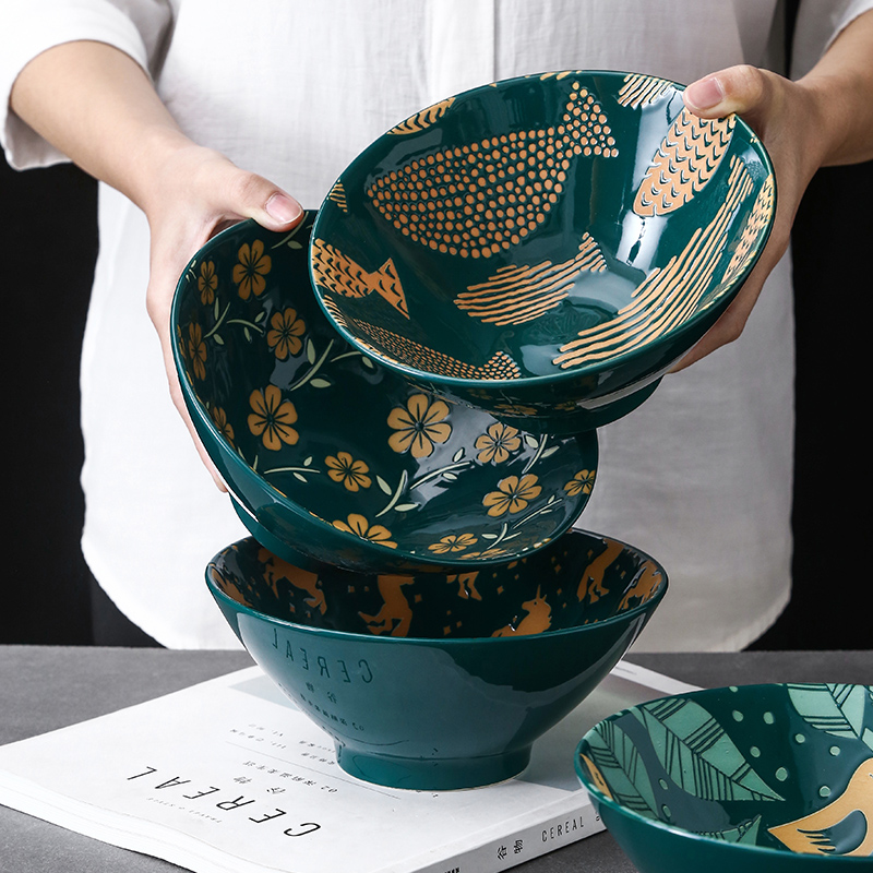 Japanese Relief Pattern Tableware Commercial Bamboo Hat Ceramic Bowl, Household Large Ramen, Rice, Noodles, Soup Bowl