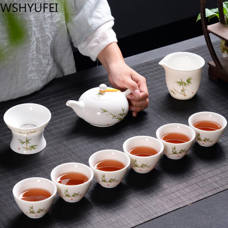 Blue and white ceramic sheep fat white porcelain tea sets drinkware with Gaiwan porcelain cup best china gifts