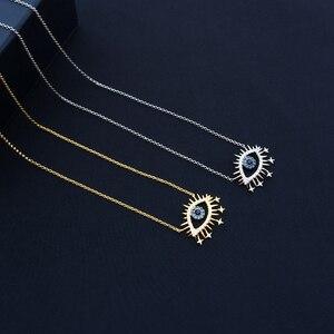 Collar cheny s925 de plata esterlina, nuevo, dorado, amarillo, Ojo de la suerte, suéter femenino con ojo de demonio, cadena, estilo de banquete búlgaro