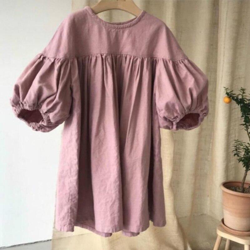 ><font><b>New</b></font> <font><b>2020</b></font> <font><b>Spring</b></font> Baby Girls Dresses Cotton and Linen Lantern Sleeves Fresh Infant Cute Dress for Kids Children Maxi Dress,#5380