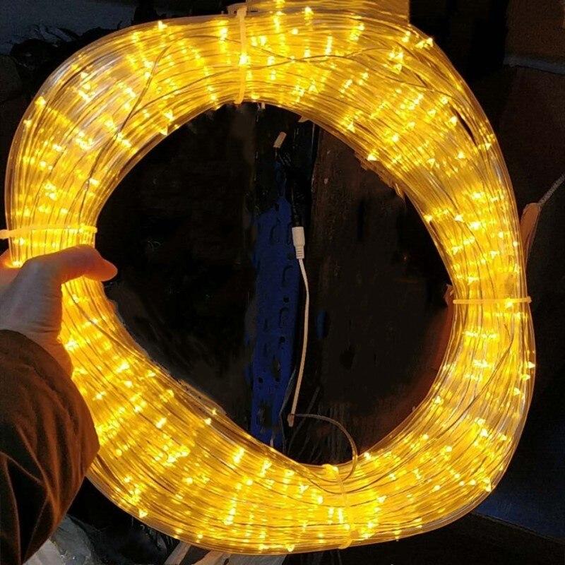 Tira de luces LED de cuerda de 10-40M, exterior guirnalda de calle, decoraciones de voltaje seguro para casa, jardín, Valla, árbol de Navidad Luces de Navidad decoración al aire libre 5 metros droop 0,4-0,6 m cortina led guirnalda de luces de carámbanos Año Nuevo boda fiesta guirnalda Luz