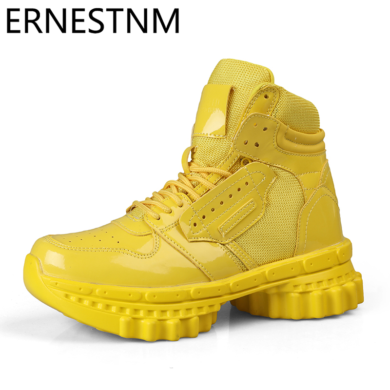 ERNESTNM Sneakers Women Sexy Shoes PU Leather Platform Sneakers Bling Ladies White High Top Lover Shoes 36-44 Zapatos De Mujer
