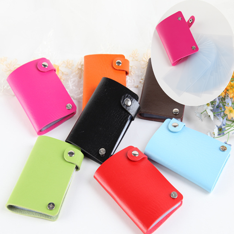 PU Leather 10 Bits Rotate Id Card Holder Multifunction Candy Color Bank Card Case Men Women Credit Passport Purse Wallet Bag